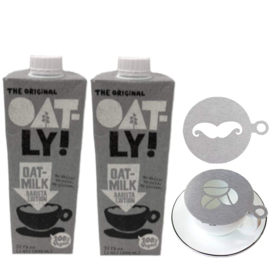 Oatly Oat Milk Barista Edition Non-Dairy Gluten Free, 32 oz - Pack of 2 with Barista Coffee Stainless Steel Latte Art Stencil