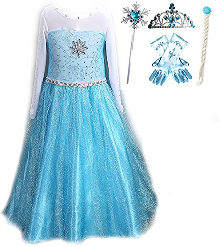 Snow Queen Elsa Princess Party Dress Costume with Accessories (5-6, Style 2) (Elsa Costumes For Girls)