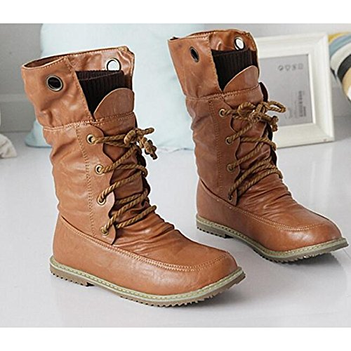 Spring ZHZNVX Fall Brown Boots for Boots Comfort Flat Women's Boots HSXZ Yellow Mid Fashion Heel PU Shoes Calf Black Casual Brown RfnXzIfxqr