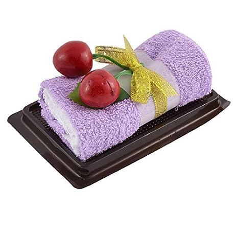 DealMux simulado cereza de la torta de la hoja Detalle del rollo de toallas de Facecloth del paño de decoración púrpura del regalo: Amazon.es: Hogar