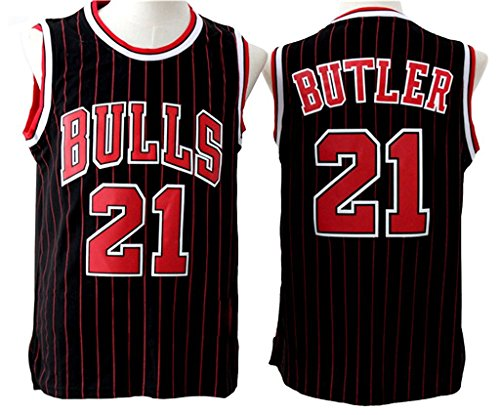 Mens Jimmy Butler #21 Red Stripes Black Throwback Jersey Basketball Jersey