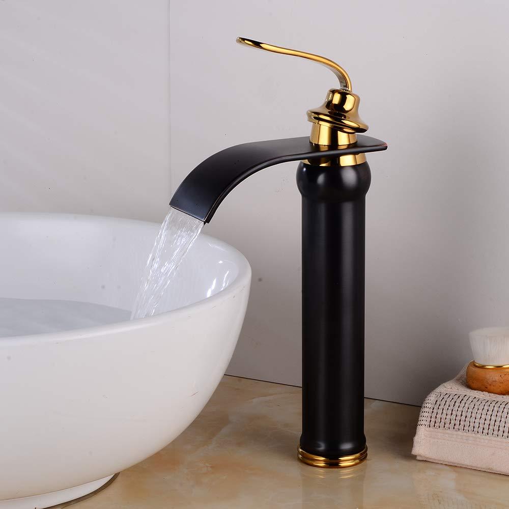 FWZZQ Rubinetto nostalgia per bagno a cascata nero retr/ò alto rubinetto miscelatore monocomando lavabo rubinetto per bagno in ottone
