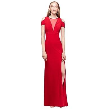 Davids Bridal Cold Shoulder Illusion V Neck Jersey Prom Dress Style
