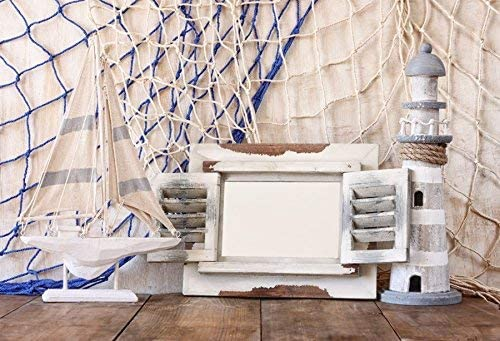 GoEoo Summer Party Decorations Marine Theme Backdrop 10x7ft Vinyl Photography Backgroud Fishing Net Lighthouse Sailboat Wooden Floor Backgroud Summer Holiday Celebration