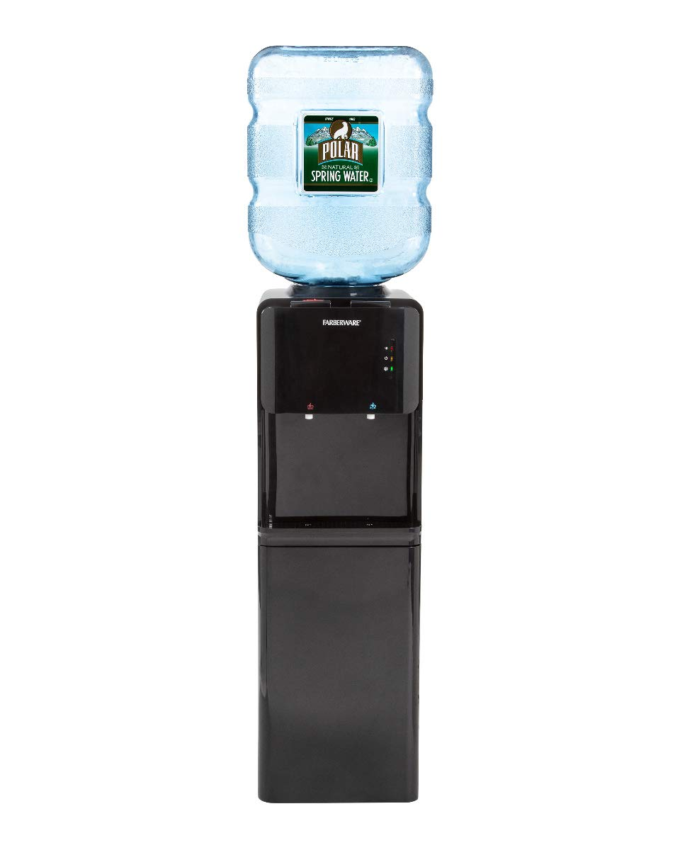 Farberware FW-WD419 Freestanding Hot and Cold Water Cooler Dispenser with Built In Refrigerator, Black
