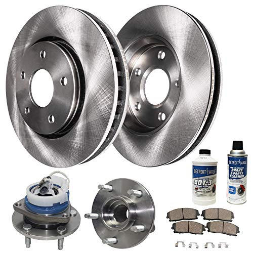 Detroit Axle - Both Front Wheel Bearing Hub Assemblies and Disc Brake Rotors w/Ceramic Pads w/Hardware & Brake Cleaner for 2006-11 Buick Lucerne V6 - [06-13 Chevy Impala] - [06-07 Monte Carlo]