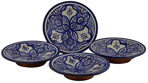 Moroccan Ceramic Plates Handmade Appetizer Tapas Serving Set Of Four Blue (Tapas Dish Set)