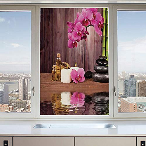 (3D Decorative Privacy Window Films,Spa Flower Water Reflection Aromatherapy Bamboo Blossom Candlelight,No-Glue Self Static Cling Glass Film for Home Bedroom Bathroom Kitchen Office 17.5x36 Inch )