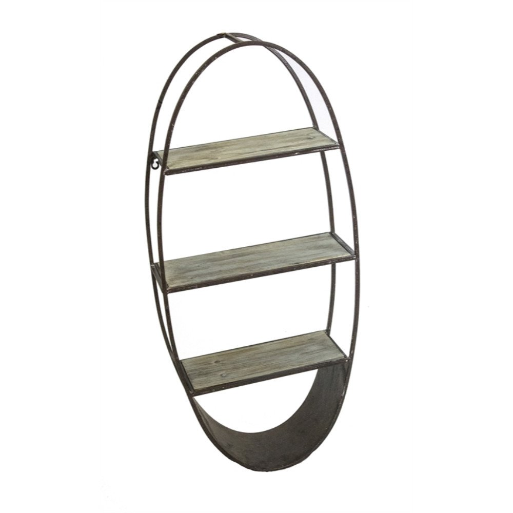 Benzara Captivating Oval Metal Wall Shelf, Brown