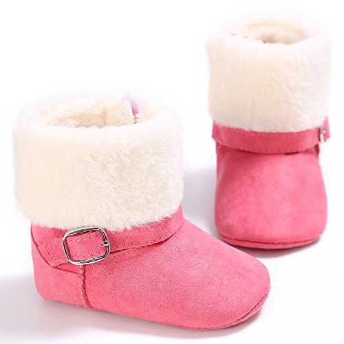 LIVEBOX Baby Boots, Infant Soft Sole Bow Anti-Slip Mid Calf Warm Winter Prewalker Ankle Buckle Snow Boot for Girls and Boys