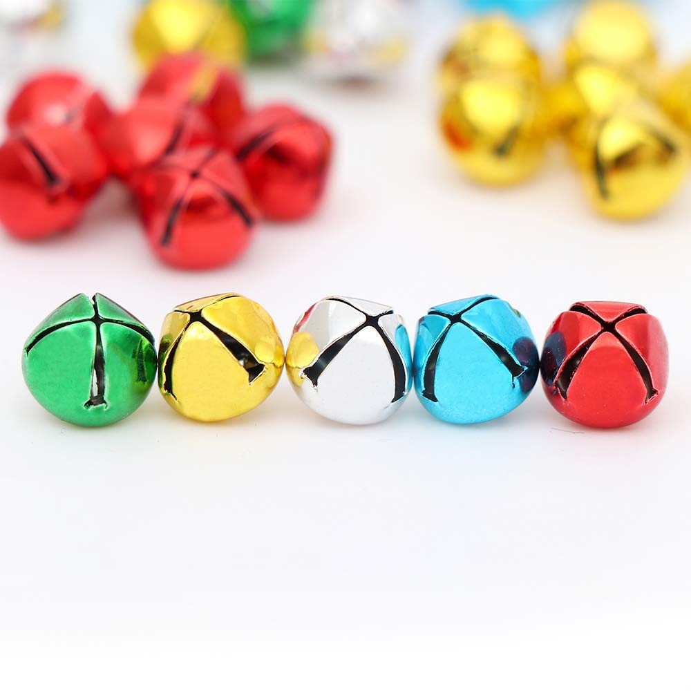 10 mm 200PCS Jingle Bells Party /& Festival Decorations and Jewelry Making Small Bell Mini Bells Bulk with 27M Red Cords for Christmas