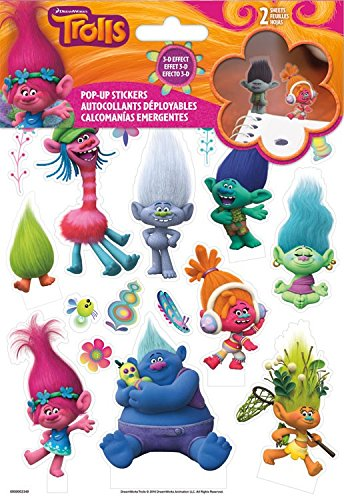 Pop-Up Trolls 3D Stickers Labels