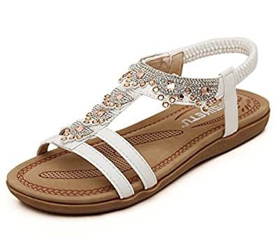 Aisun Women's Boho T Strap Open Toe Flat Beach Sandals With Rhinestones White 8.5 B(M) US