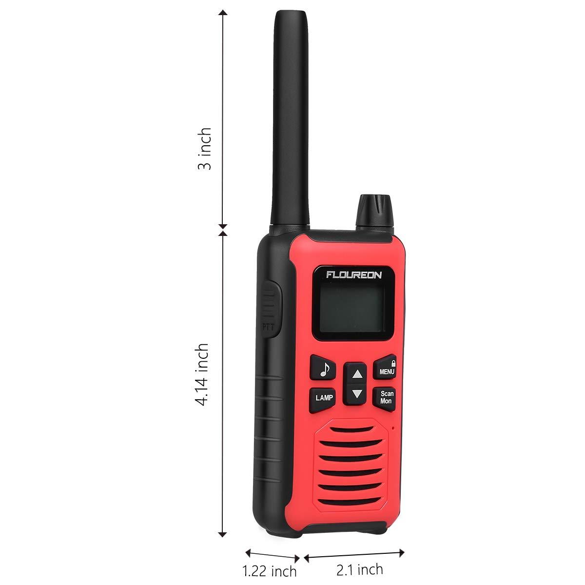 FLOUREON 4 Packs Walkie Talkies Two Way Radios 22 Channel 3000M (MAX 5000M Open Field) UHF Long Range Handheld Talkies Talky (Red FC200)