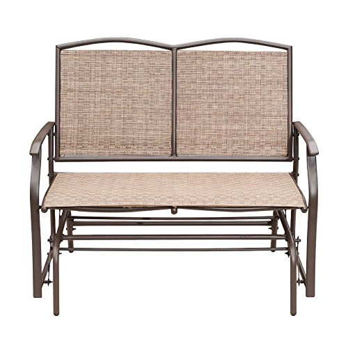 - SunLife Outdoor Swing Glider 2 Person, Patio Furniture Loveseat Bench Rocking Chair with Brown Rattan Wicker Seatback