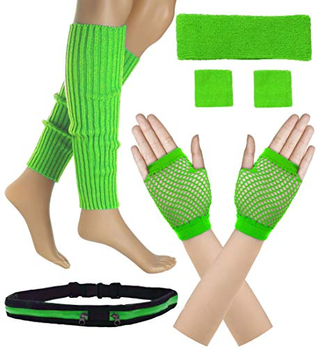 Women 80s Set Neon Knit Headband Wristbands Leg Warmers (Green)]()