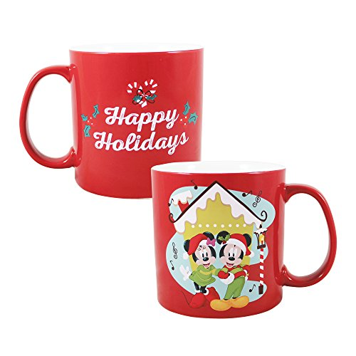 Vandor 56235 Disney Mickey Mouse and Minnie Mouse Holiday 20 oz. Ceramic Mug ()