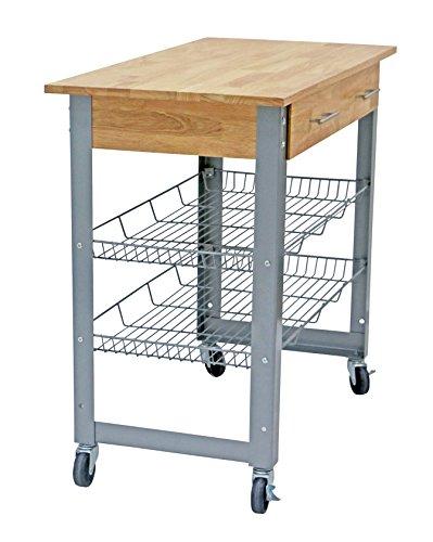 Metal Kitchen Cart Natural Solid Wood Top with Metal Base and Adjustable Racks