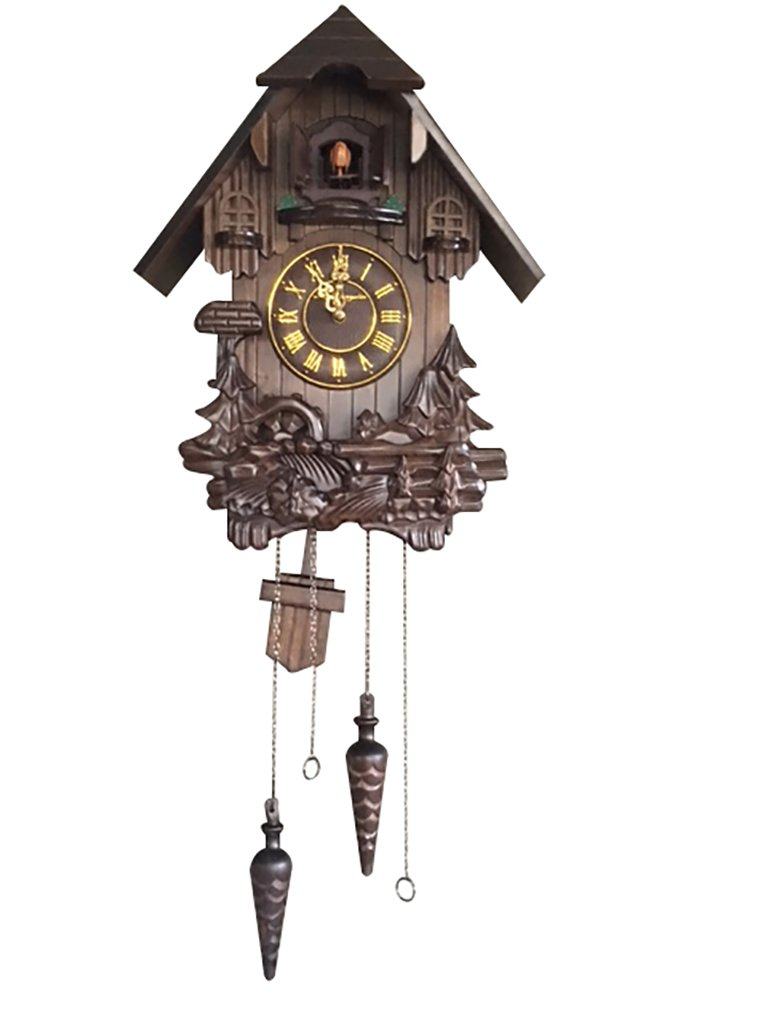 Wall Cuckoo Clocks: Vmarketingsite Black Forest Wooden Cuckoo Clock. Black Forest Hand-carved Cuckoo Clock. Bright Cuckoo Bird Sounds On The Hour And Chime Has Automatic Shut-Off. Excellent Gift. by Vmarketingsite