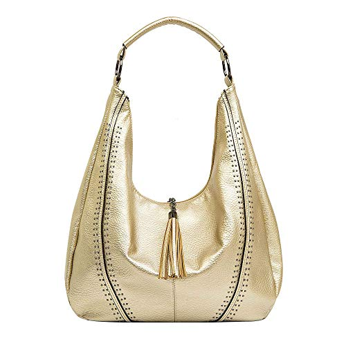 (Handbags for Women, Hobo Shoulder Bags Large Compacity Tote Purses With Tassel Decoration (Gold))