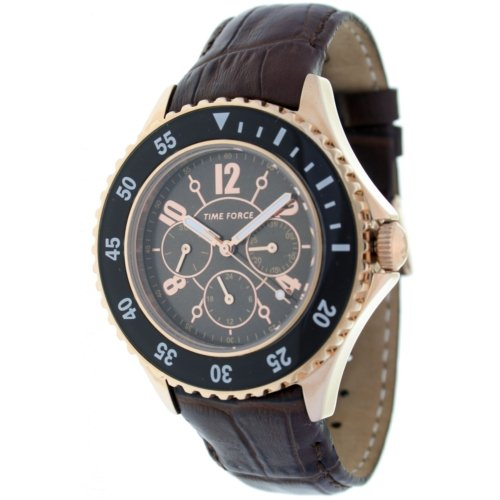 Timeforce TF3300L14 42mm Stainless Steel Case Brown Leather Mineral Men's Watch