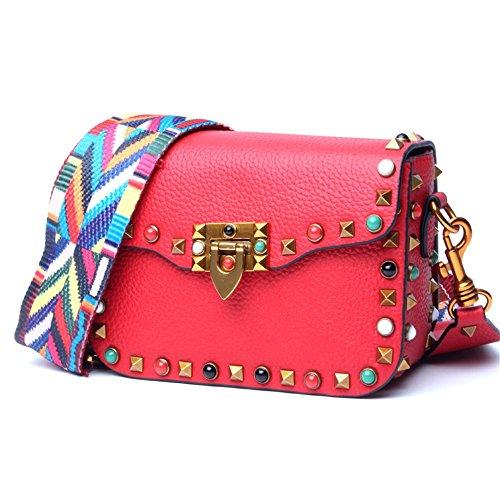 Xuanbao Bolso de Hombro del Color del Bolso del Remache de Las Mujeres pequeño encabezado de la Capa de la Bolsa de Mensajero de Cuero Bolso de Hombro Ancho de la Correa (Color : Rojo) Rojo