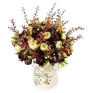 "Greentime 4pcs Artificial Rose Flowers 13.5"" 7 Branch 13 Heads Silk Rose Plants Wedding Home Party Garden Craft Art Decor 75"