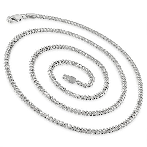 14k White Gold 2.5mm Solid Miami Cuban Curb Link Thick Necklace Chain 16'' - 30'' (22) by In Style Designz (Image #1)