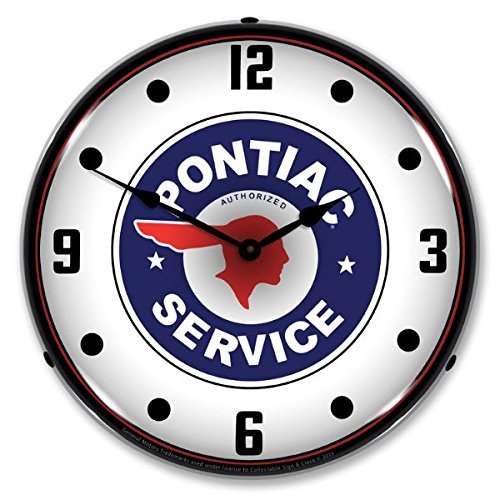 New Pontiac Service Retro Vintage Style Advertising Backlit Lighted Clock - Ships Free Next Business Day to Lower 48 States
