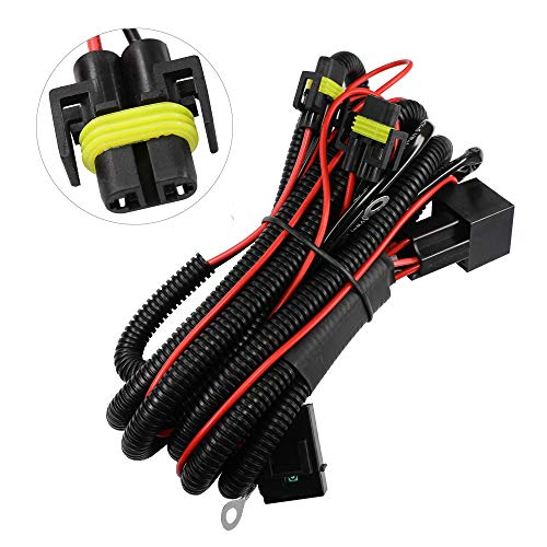 1x H11 H8 881 880 Relay Wiring Harness HID Conversion Kit Add-On Fog Lights DRL/Daytime Running Lamps LED (H11/H8 fog light wire harness kit) ()