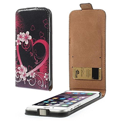 iPhone 6 Case, [Up-Down Open] Newshine (TM) Butterfly & Flowers Pattern PU Leather [Wallet Vertical Type] Magnet Design Flip Protective Credit Card Holder Pouch Skin Case Cover for Apple iPhone 6 4.7 inch [Built-in Credit Card/ID Card Slot] (Heart & Peach Flowers)