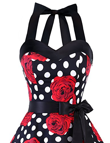 Halter Black Dresstells® Polka 50s Dot Rockabilly Dots Audrey Cocktail Retro Dress Rose Red dzq4rz