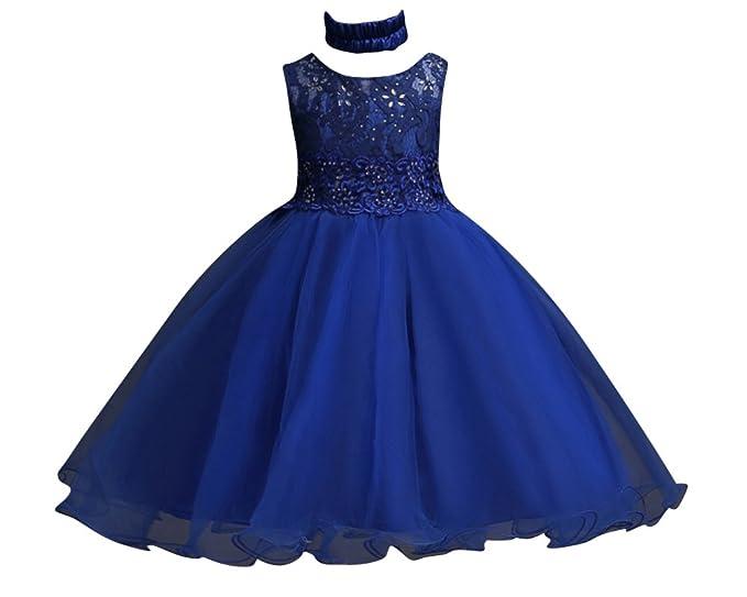 2bb07a64ee3e Qitun Fiore Ragazze Abito Elegante da Bambina Principessa Senza Maniche  Compleanno Festa Nozze Sera Vestito Cerimonia  Amazon.it  Abbigliamento