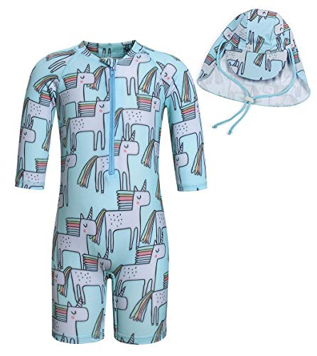Cotrio Little Girls Unicorn Swimsuit One-Pieces Sun Suit with Sun Cap Toddler Short Sleeve Rash Guard Sets UPF 50+ Swimwear (120, Size 4, 3-4Years, Blue)