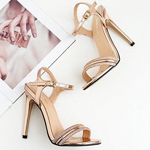 Talons De De Soirée Toe Sandales Dames Open Femmes Chaussures Hauts Fête Slingback Gold Robe De À pour Sandales Buckle Mariage EwfxqT