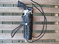 "Western Gun Holster - Black - Right Handed - for .22 Caliber single action revolver - Size 6"" - tooled Leather"