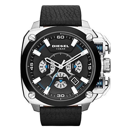 Diesel DZ7345 Mens BAMF Chronograph Black Leather Strap Watch