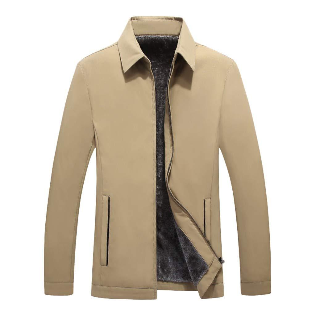 Redacel Autumn Winter Casual Jacket for Men Vintage Zipper Slim Fit Solid Turn-Down Collar Jacket Coat (Khaki,3XL) by Redacel