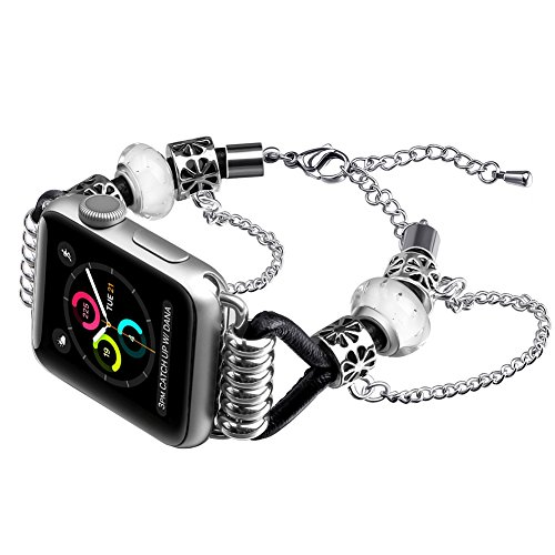 NaHai Band for Apple Watch 38mm 42mm, Leather Replacement Wristband Adjustable Lobster Clasp Bracelet for Apple Watch Series 3, Series 2, Series 1, Sport, Edition Mix Bangle Set