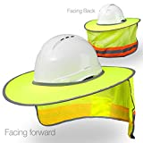 Hard Hat Sun Shield - High Visibility, Reflective, Full Brim Mesh Sun Shade Protector (Hard Hat Not Included)