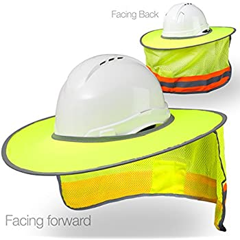 Hard Hat Sun Shield - High Visibility, Reflective, Full Brim Mesh Sun Shade Protection (Yellow/Lime)