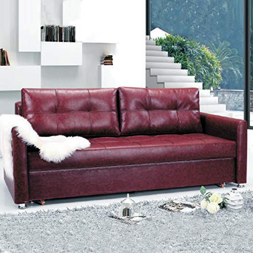 SOON GO Sofa Bed with 3 Pillows Folding Iron Durable Frame Convertible Easily Printable (Wine Red)