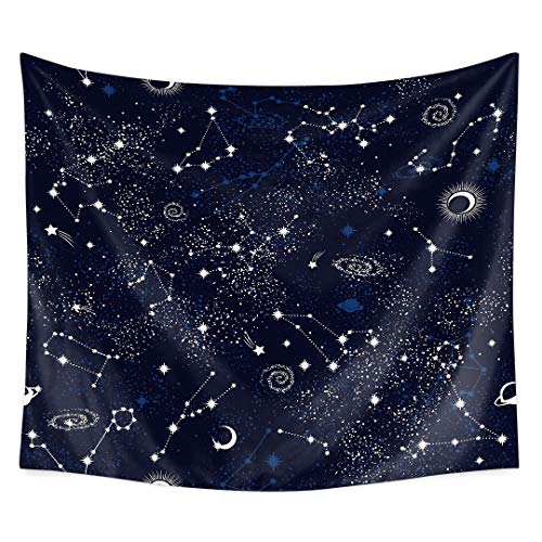 QCWN Astrology Decorations Tapestry,Zodiac and Planets Original Collection Coordinates of Celestial,Fabric Tapestry Throw Artwork Home Decoration for Living Room Bedroom Dorm.59x51Inc (79