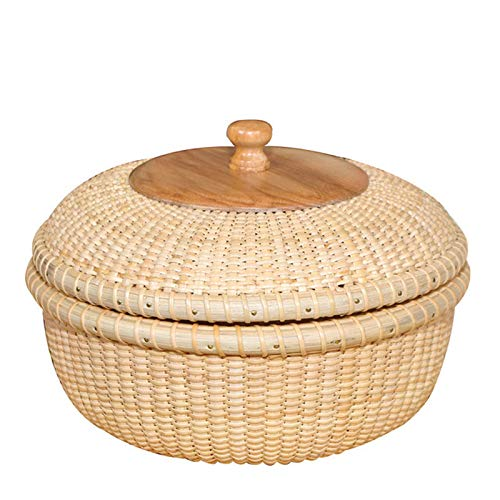 Indonesian Rattan Storage Basket, Hand-Woven/with Lid, for Fruit/Picnic/Shopping/Desktop Finishing/Dried Fruit Tray/Coffee Table Storage Box (Baskets Rattan Indonesian)