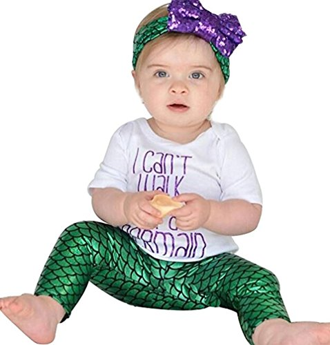 Newborn Baby Girl I Cant Walk Im A Mermaid Letter Print T-Shirt 3pcs -