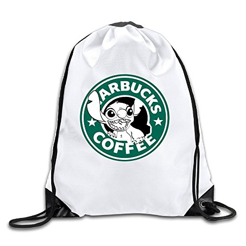 Price comparison product image Lilo And Stitch Starbucks Coffee White Drawstring Backpack Sport Bag For Men & Women
