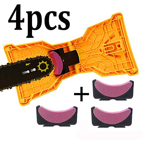 Chainsaw Sharpener, Universal Fast And Convenient Chain Saw Blade Sharpener Fast-Sharpening Stone Grinder Tools Bar-Mounted Chainsaw Teech Sharpener Fit for 14' 16' 18' 20' Two Hole Chain Saw Bar