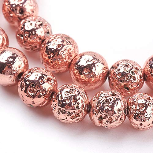 (Beadthoven 5Strands Electroplated Natural Lava Bead Strands 8mm Rock Round Rose Gold Plated Stone Bead Charms for Jewelry Making Women & Men's Bracelets Handmade Accessories Finding Supplies)