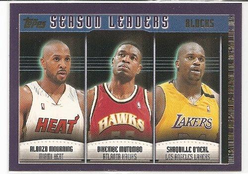 Shaquille O'Neal/Alonzo Mourning/Dikembe Mutombo 2000-01 Topps Season Blocks Leader