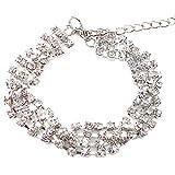Himpokejg Women's Fashion Shiny Rhinestones Bangle Ladies Bracelet Party Jewelry Charms-Silver